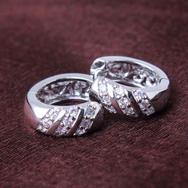 Luxury 18k white gold filled 3 lows Swarovski Crystal band hoop earring HOT SALE