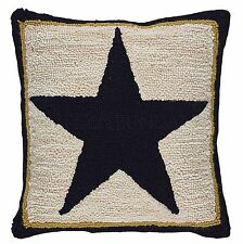 Cream and Black Country Black Star Hooked Pillow Cover by Park Designs, 18x18 In