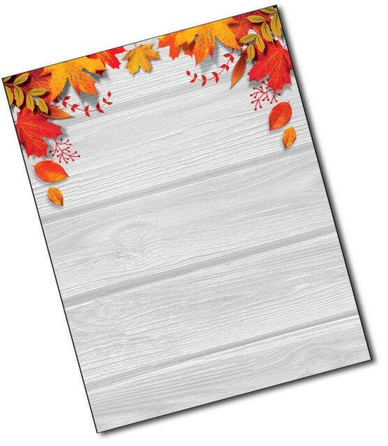 80 sheets autumn letterhead for festi fall leaves over wood