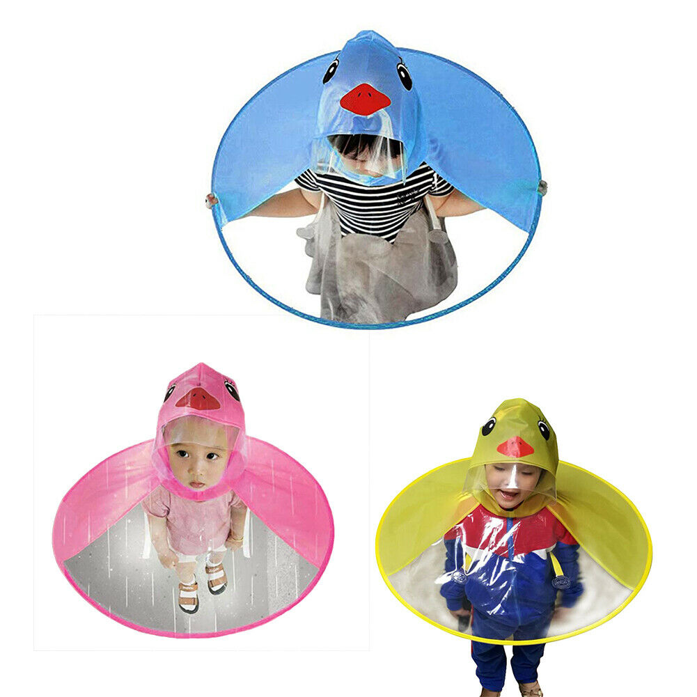 Cute Cartoon Duck Children Raincoat Umbrellas UFO Shaped Rain Hat Cape Foldable