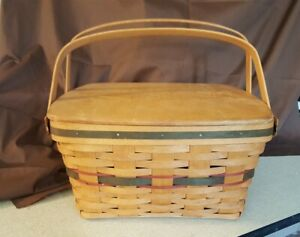Longaberger-1993-Hostess-GREEN-HOMECOMING-BASKET-12092-Wood-Lid-amp-Protector