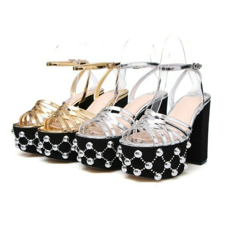 donna Sandals Sandals Sandals Open toe Block Platform Beaded Ankle Strap Buckle Party scarpe New 3c1fe1