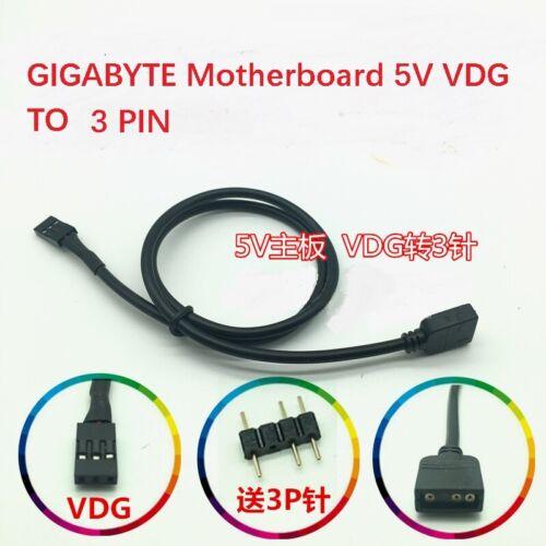 PC Mod GIGABYTE motherboard 5V 3 Pin Cable de línea de Conversión de Ventilador VDG RGB conector