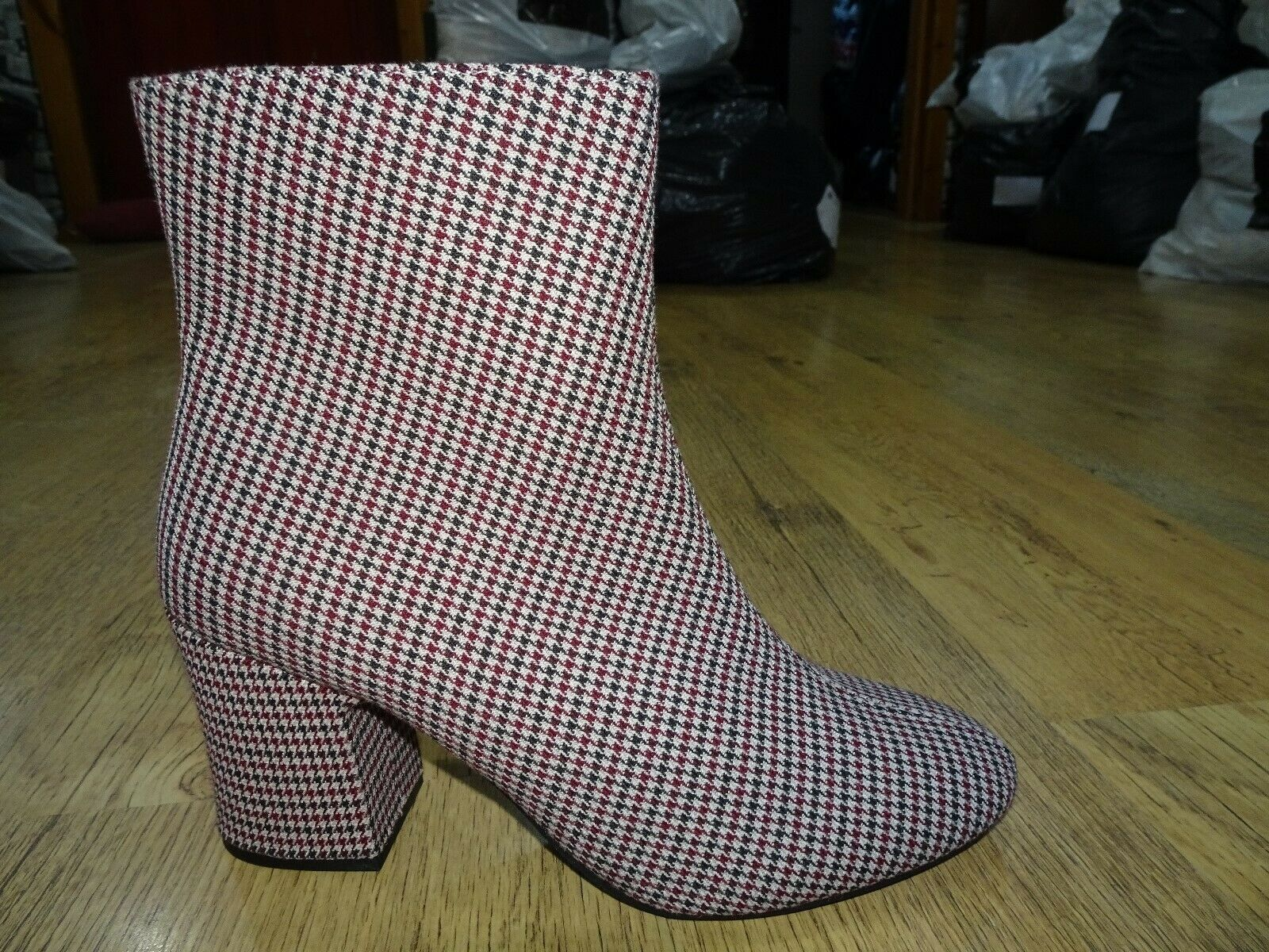 M&S Grey Mix Dogtooth Pattern Ankle Boots Size 7.5 UK BNWT