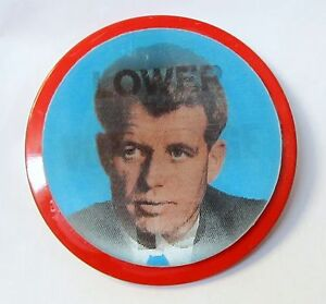 '68 Anti KENNEDY LOWER VOTING AGE TO 10 Lenticular Lens pinback RFK Robert Bobby