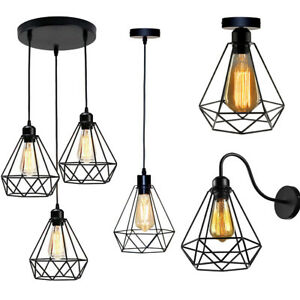 Vintage-Industrial-LED-Metal-Cage-Ceiling-Pendant-Light-Wall-Sconce-Lamp-Shade