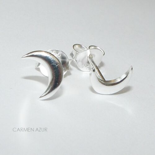 Ear Studs Crescent Moon New Gift Bag Solid 925 Sterling Silver Stud Earrings
