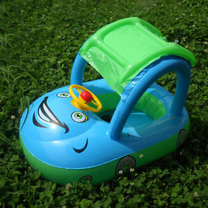 Blue-Baby-Toddler-Float-Seat-Boat-Inflatable-Sunshade-Kid-Swim-Pool-with-Canopy