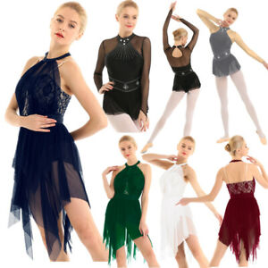 Adult-Womens-Lyrical-Dance-Dress-Ice-Skating-Mesh-Leotard-Competition-Costume