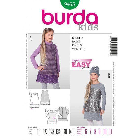 Burda Sewing Pattern 9455 Girls Childs Semi Fitted Dress Size 6-11 Uncut