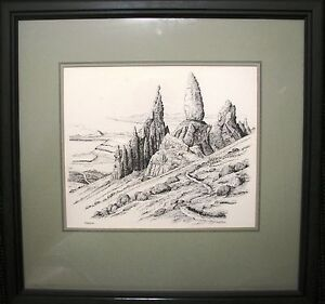 Bill-Lawrence-original-pen-ink-sketch-titled-039-The-Mountain-Path-039