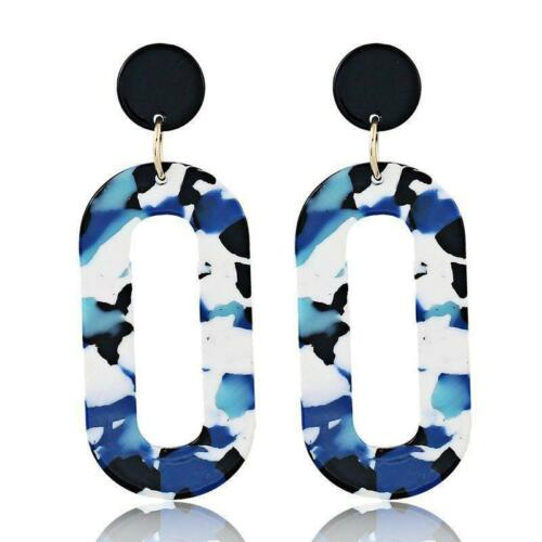 Moda mujer joyas geométrica Cuelgan Gota de Acrílico Ear Stud Pendientes Azul