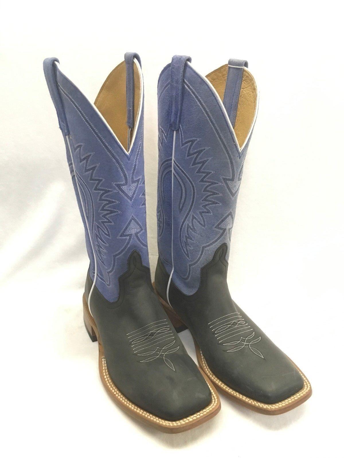 botas para hombre Horsepower by AB-Negro Puntera Cuadrada Crazy Caballo Con Azul Superior, HP1080