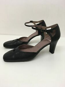 WOMENS CLARKS BLACK LEATHER ANKLE STRAP