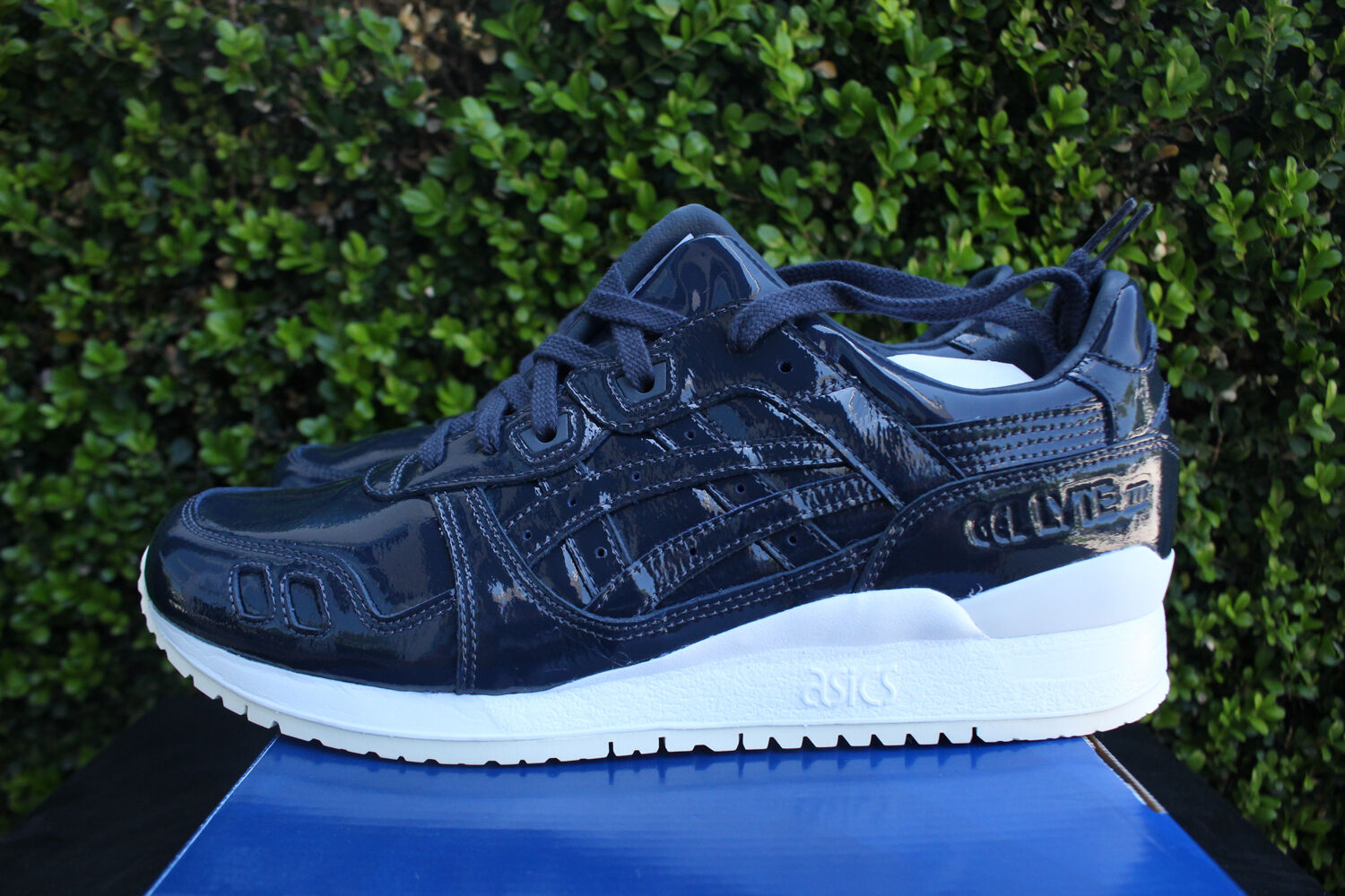 ASICS GEL LYTE III 3 SZ 8.5 PATENT LEATHER INDIA INK H7H1L 5858