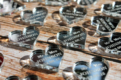 Mr /& Mrs Wedding Table Decorations Personalised Transparent//Mirror Love Hearts