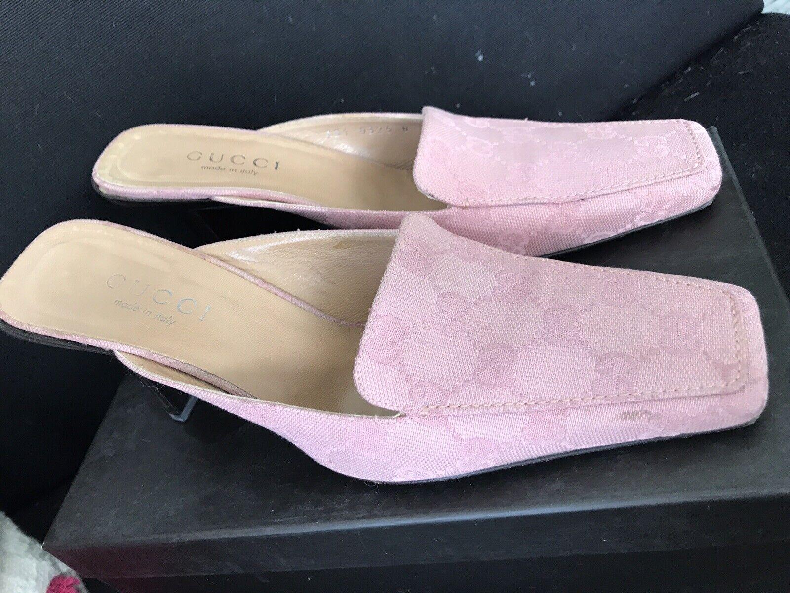 Vintage GUCCI GG Canvas Mule Classic Shoes Rosa W… - image 6