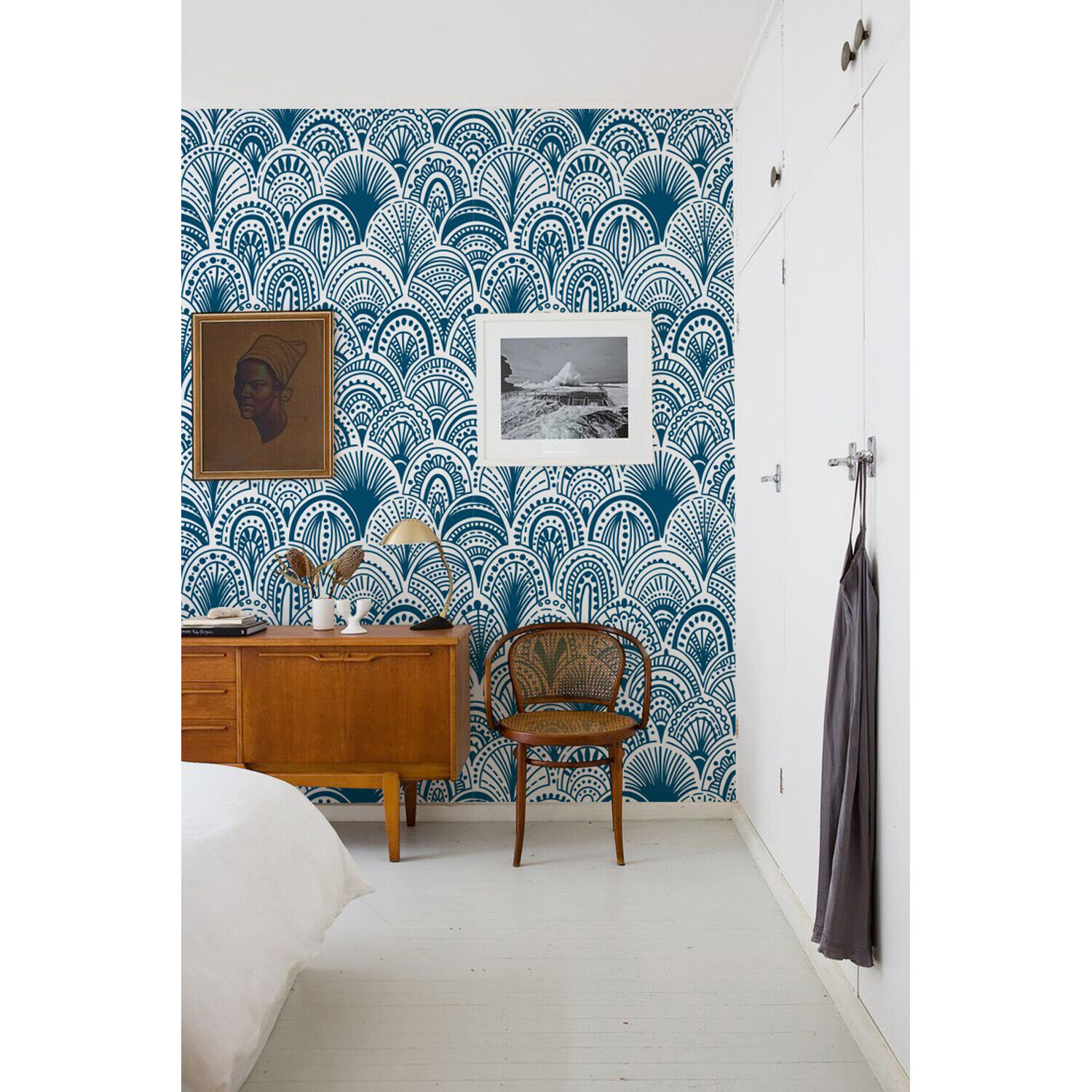 Blau Bohemian Non-woven wallpaper Blau Abstract Modern Wall Mural Decal