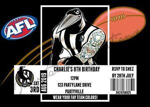 DIY Print Custom AFL CARLTON MELBOURNE GUERNSEY BALL Birthday Party Invitation