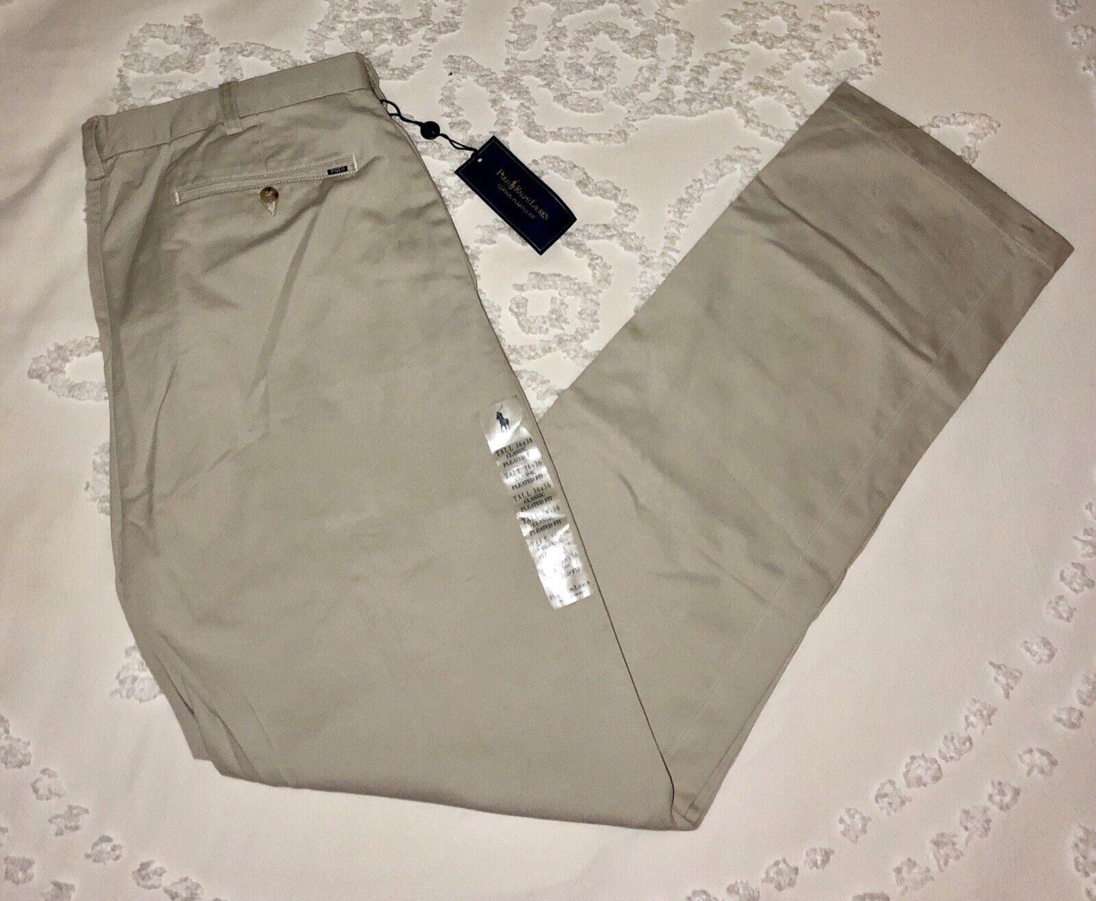 Polo Ralph Lauren Khaki Pants NEW Classic Pleated Fit 36T x 36 Tall Straight Big