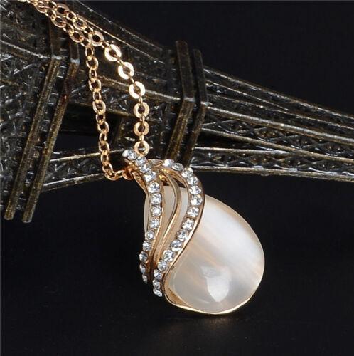 Plaqué or poire goutte collier pendentif Cristal Boucle d/'oreille Women Fashion Jewelry Set
