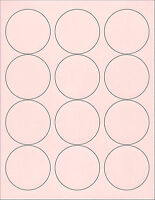 6 SHEETS  2-1/2 ROUND CIRCLE BLANK PINK STICKERS LABELS
