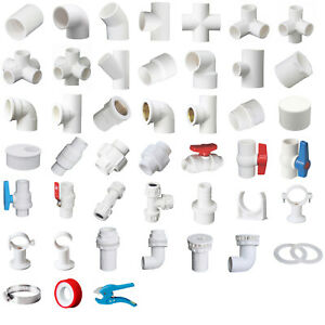 White PVC 25mm ID Pressure Pipe Fittings Metric Solvent Weld Various Parts