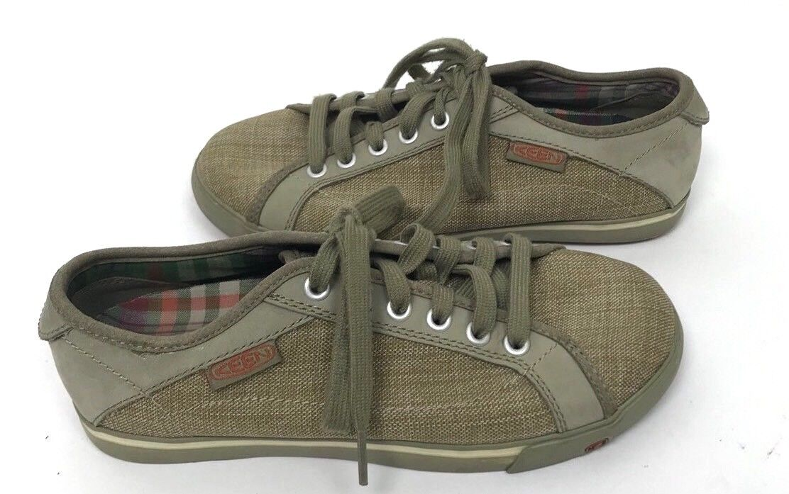 Keen 6.5 Women's Vulcanized Canvas Lace Up Sneakers shoes Green Brown Athletic