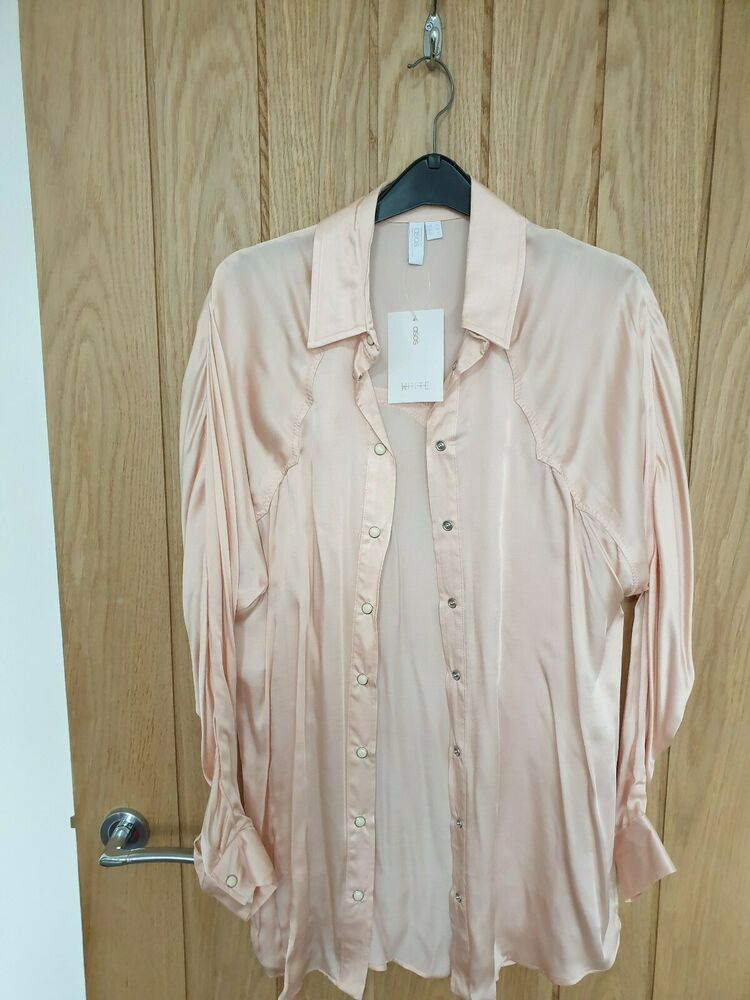 Asos Blanc En Satin Rose Sentir Western Shirt. Uk 10. Bnwt.