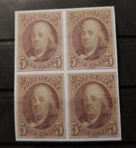 US-Stamps-SC-1-5-Cent-1847-Benjamin-Franklin-Block-Facsimilie-Copy-Place-Holder