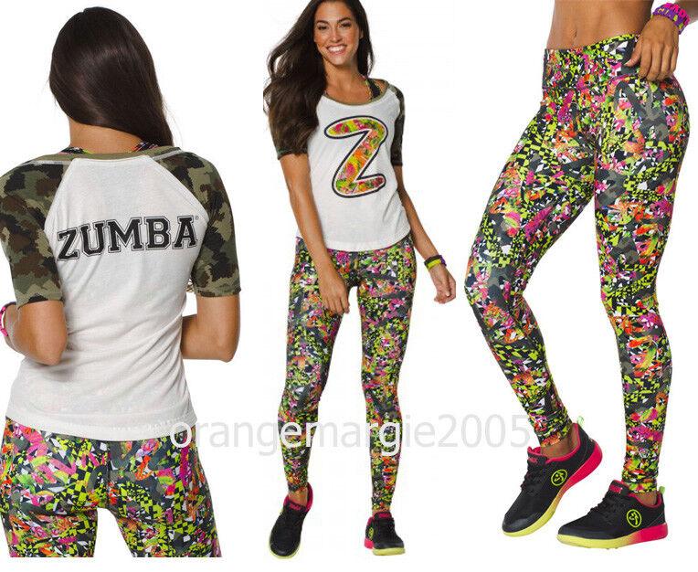 ZUMBA Nation 2Pc.Set  Mashed Up Long Leggings +Camo Army Football Tee-EliteZWear