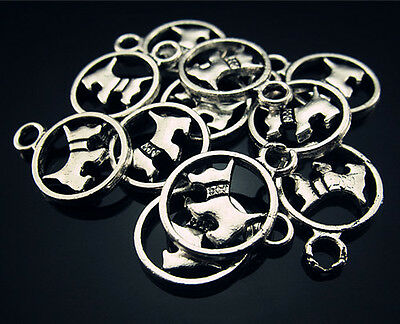 New LOTS 20PCS Jewelry Design Lucky Dog Tag Tibetan silver Findings Pendant 19mm