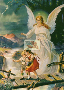 Reprint Picture Old Print Guardian Angel B Watching Children