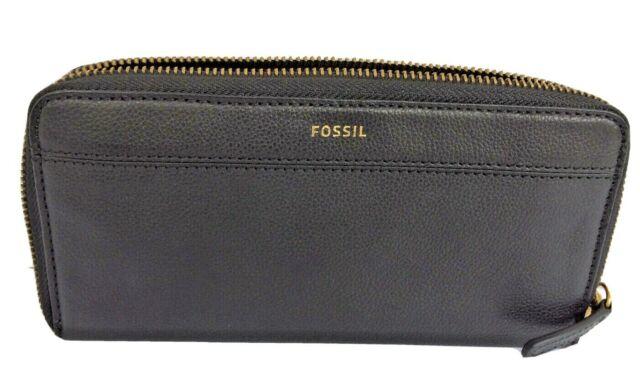 Fossil Women/'s Wallet Zip Around Genuine Leather Tiegan Clutch Black NWT $75