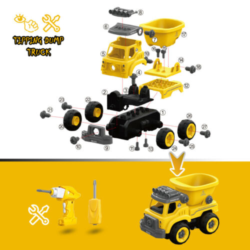 3in1 DIY Blocksteine Engineering Vehicle Bagger Spielzeug Set für Jungen 3 4 5