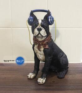 French-Bulldog-Boston-Terrier-Wearing-headphones-for-MUSIC-Resin-statue