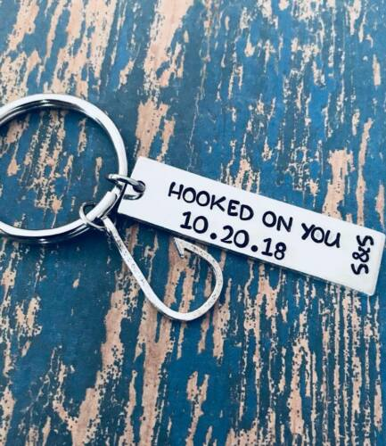 Hooked on You Personalized Key Ring set with Fishing Hook Charm Boyfriend Gift