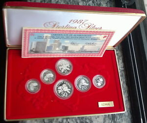 Singapore-1987-Mint-Box-Set-of-6-Silver-Coins-With-COA