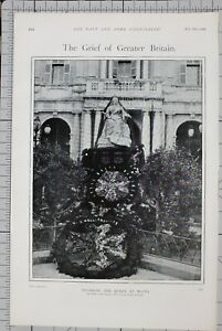 1901-PRINT-MOURNING-THE-QUEEN-AT-MALTA-STATUE-QUEEN-VICTORIA-DRAPED-IN-BLACK