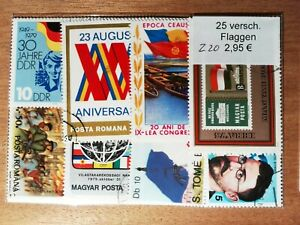 Pack-Pocket-Of-25-Stamps-Obliterated-Flags-Z20