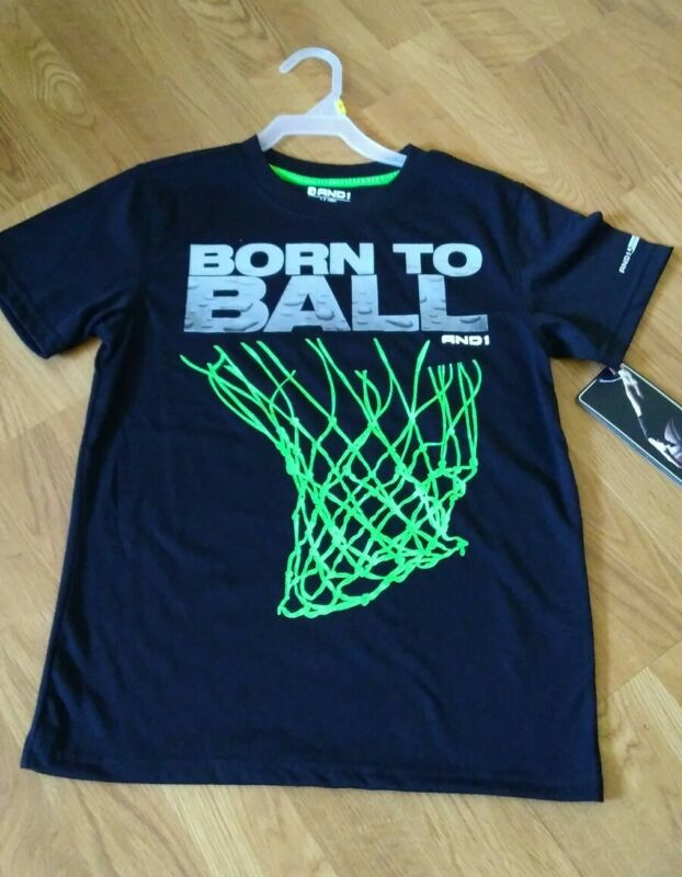 """And1 Boys Youth """"born To Ball"""" Graphic Tee, Size Medium M 8, Black Nwt"""