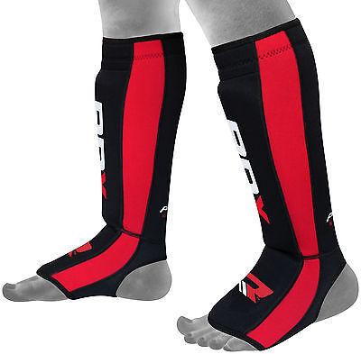 RDX Neoprene Gel Shin Instep Pads MMA Leg Foot Guards Muay Thai Kick Protector C