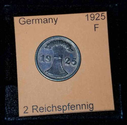 1925 F Germany Weimar Republic 2 Reichspfennig Coin VG