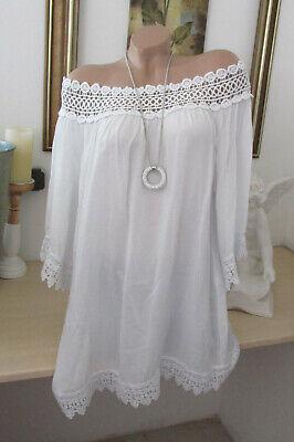 Bluse Carmen Italy Tunika Shirt Poncho Hippie doppellagig Federn Altweiß 44 46