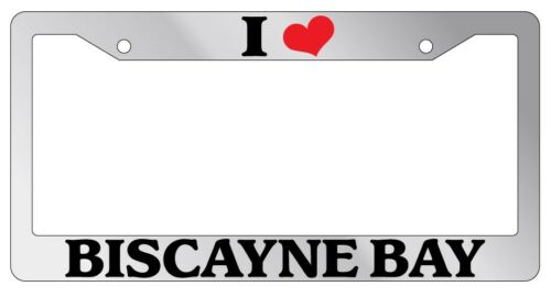 Chrome License Plate Frame I Heart Biscayne Bay Auto Accessory 1135