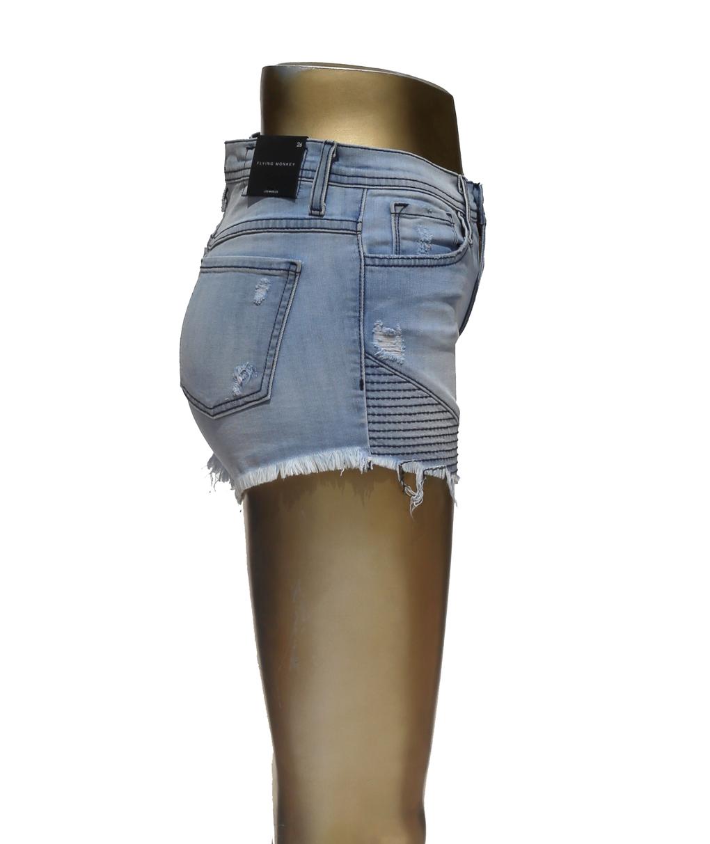 en volant Monkey Jeans Taille Haute Denim Moto courte Neuf avec étiquettes 26 in (environ 66.04 cm) lumière Wash Effiloché