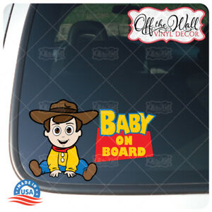 Baby-Woody-Toy-Character-034-BABY-ON-BOARD-034-Sign-Vinyl-Sticker-for-Cars-Trucks