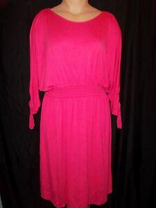 Lane-Bryant-Cold-Shoulder-3-4-Sleeve-Tassel-Smocked-Waist-Knee-Dress-Pink-NWT