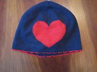 Gymboree Girl Valentine Navy Blue Heart Knit Winter Hat Cap 12-18 Month