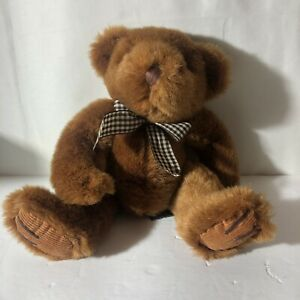 Bromley-Teddy-Bear-Russ-Berrie-Ribbon-Bow-Bean-Bottom-Plush-10-Brown-Green-Tag